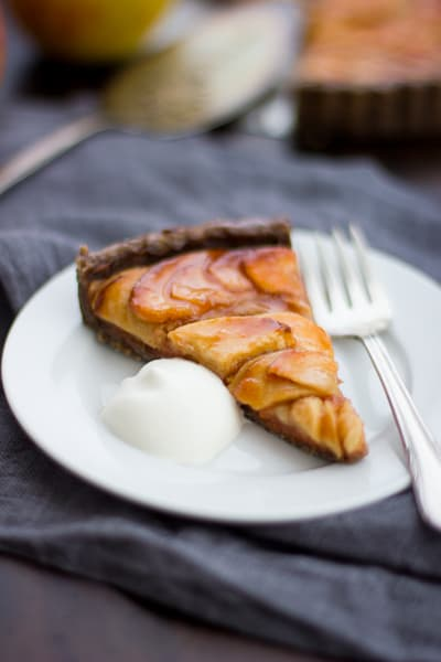 Apple Quince Tart with Gluten-Free Buckwheat Crust slice