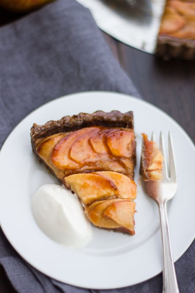 slice Apple Quince Tart with Gluten-Free Buckwheat Crust