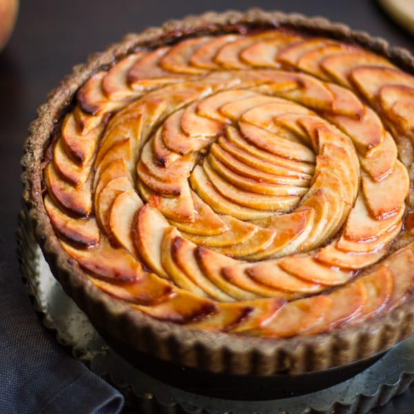 close up of Apple Quince Tart with Gluten-Free Buckwheat Crust