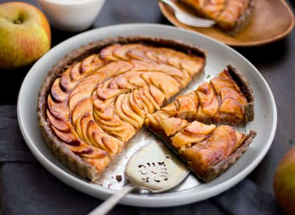 slices of Apple Quince Tart with Gluten-Free Buckwheat Crust