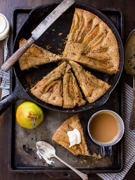 top down shot (Gluten-Free) Chai-Spiced Pear Skillet Cake