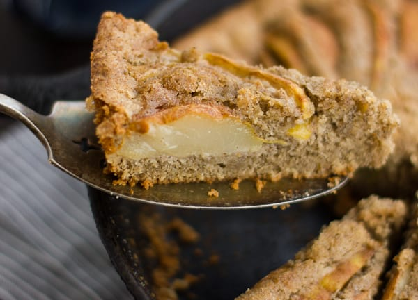 close up of slice of (Gluten-Free) Chai-Spiced Pear Skillet Cake