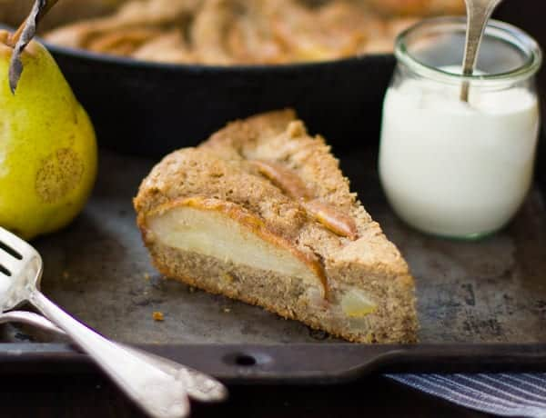 a slice of delicious(Gluten-Free) Chai-Spiced Pear Skillet Cake