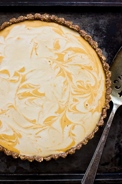 overhead shot of Marbled No-Bake Pumpkin Pie (Grain-Free and Vegan)