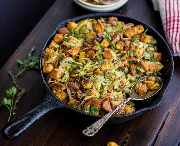 Gluten-Free Cornbread Stuffing with Chestnuts, Leeks, and Chanterelles | Thanksgiving Recipes to Please Everyone at Your Table