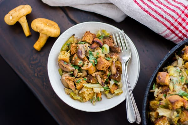 bowl of Gluten-Free Cornbread Stuffing with Chestnuts, Leeks, and Chanterelles