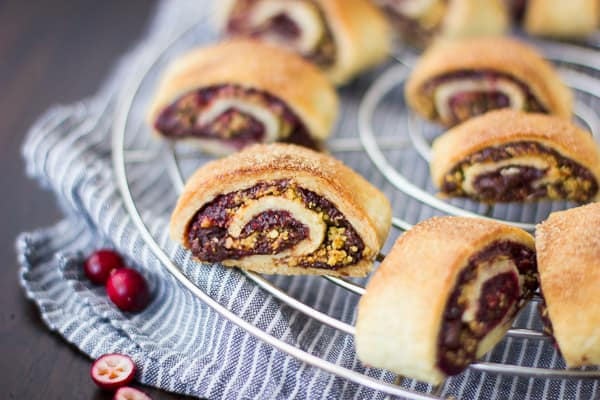 Gluten Free Rugelach with Cranberry Jam & Chocolate on wire rack