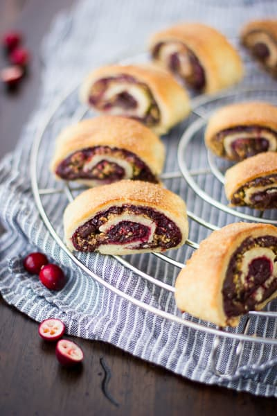 Gluten Free Rugelach with Cranberry Jam & Chocolate on a table
