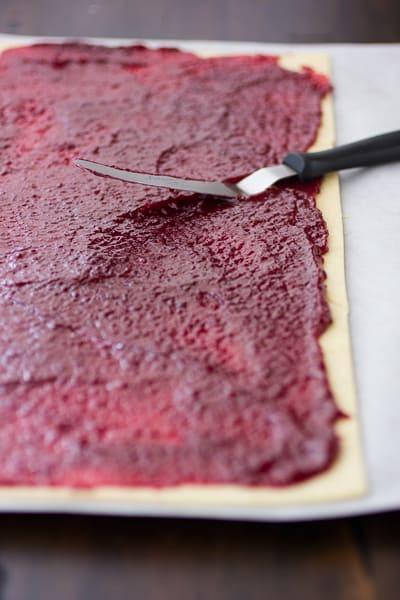 jam on pastry sheet