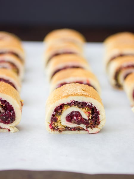 rows of Gluten Free Rugelach with Cranberry Jam & Chocolate