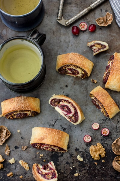 Gluten Free Rugelach with Cranberry Jam, Chocolate, and Walnuts