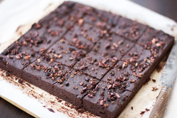 slab of Baked Almond Pulp Brownies {free of gluten, dairy, and refined sugar}