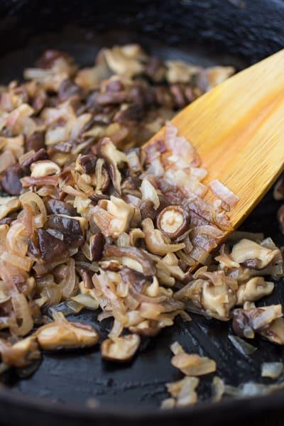 mushrooms being stirred