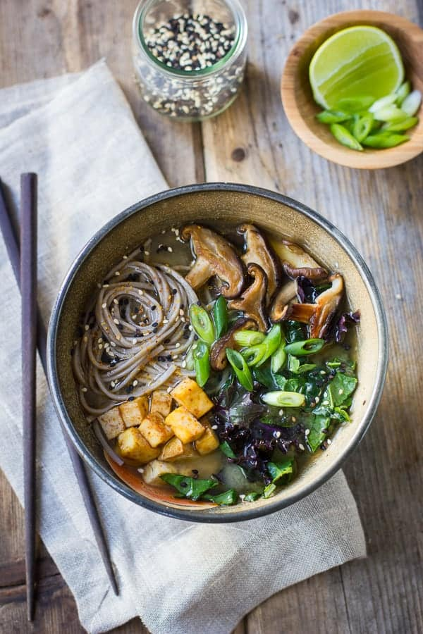 top down shot of Miso and Soba Noodle Soup with Roasted Sriracha Tofu and Shiitake Mushrooms