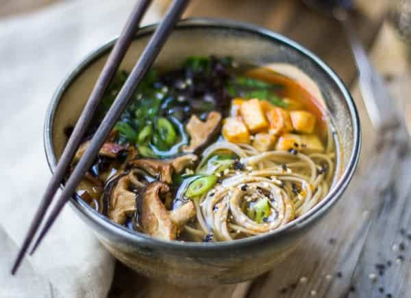 bowl of delicious Miso and Soba Noodle Soup with Roasted Sriracha Tofu and Shiitake Mushrooms