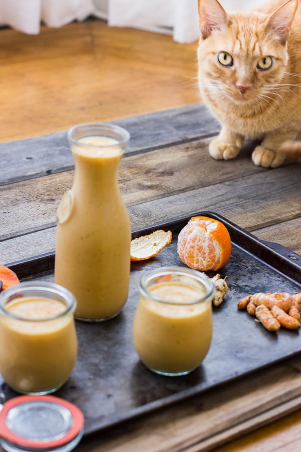 glasses of Persimmon and Tangerine Smoothie with Vanilla, Ginger and Turmeric