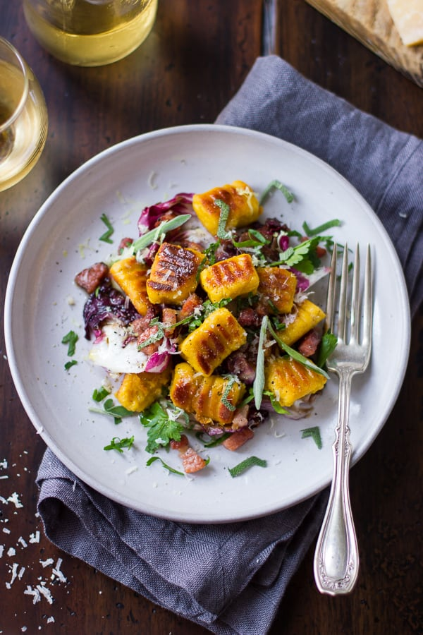 top down shot of Gluten-Free Pumpkin Ricotta Gnocchi with Pancetta and Seared Radicchio