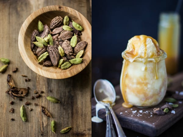 cardamom seeds and Smoked Cardamom Ice Cream with Salty Honey Caramel Swirl