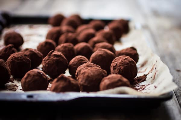 Bergamot Truffles on a baking tray