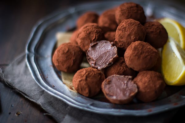 Bergamot Truffles on a plate