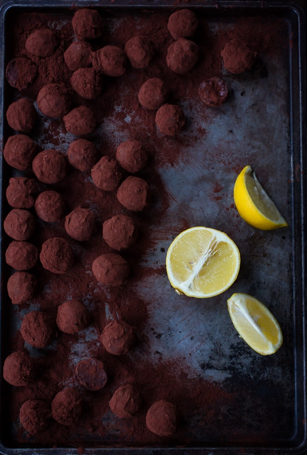 Bergamot Truffles with lemons on a tray