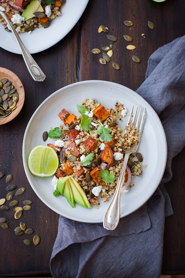 delicious Roasted Sweet Potato and Quinoa Salad with Chile and Lime