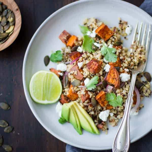 Roasted Sweet Potato and Quinoa Salad with Chile and Lime on a plate