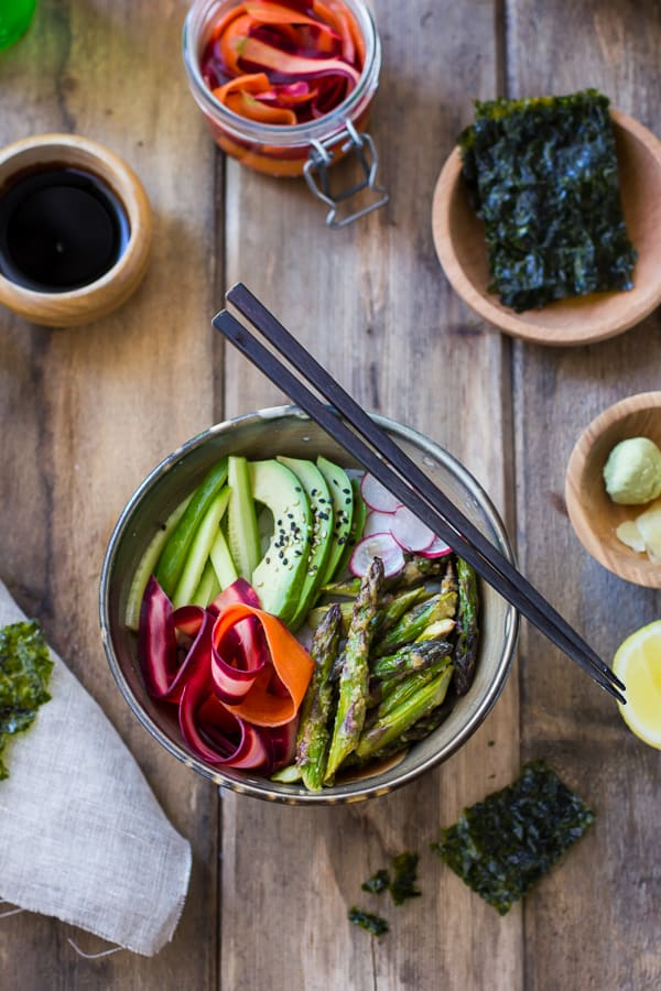 overhead shot of Vegan Sushi Bowl with Miso-Roasted Asparagus and Pickled Carrot
