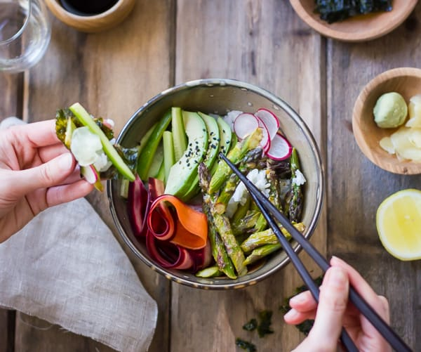 Vegan Sushi Bowl with Miso-Roasted Asparagus and Pickled Carrot