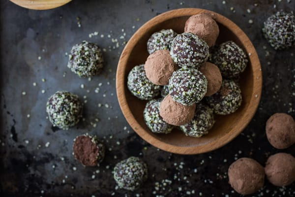 Chocolate, Hemp Seed, and Almond Pulp Energy Bites {Raw, Vegan, and Gluten-Free} in a brown bowl
