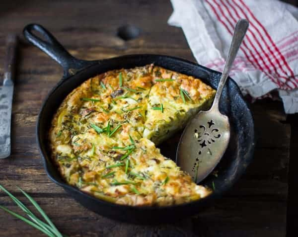 delicious Potato and Green Garlic Crustless Quiche with Goat Cheese, Gruyère, and Chives {Gluten-Free