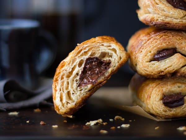 stack of Rye Flour Pains au Chocolat (Chocolate Croissants)