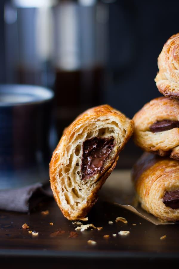 pile of Rye Flour Pains au Chocolat (Chocolate Croissants)