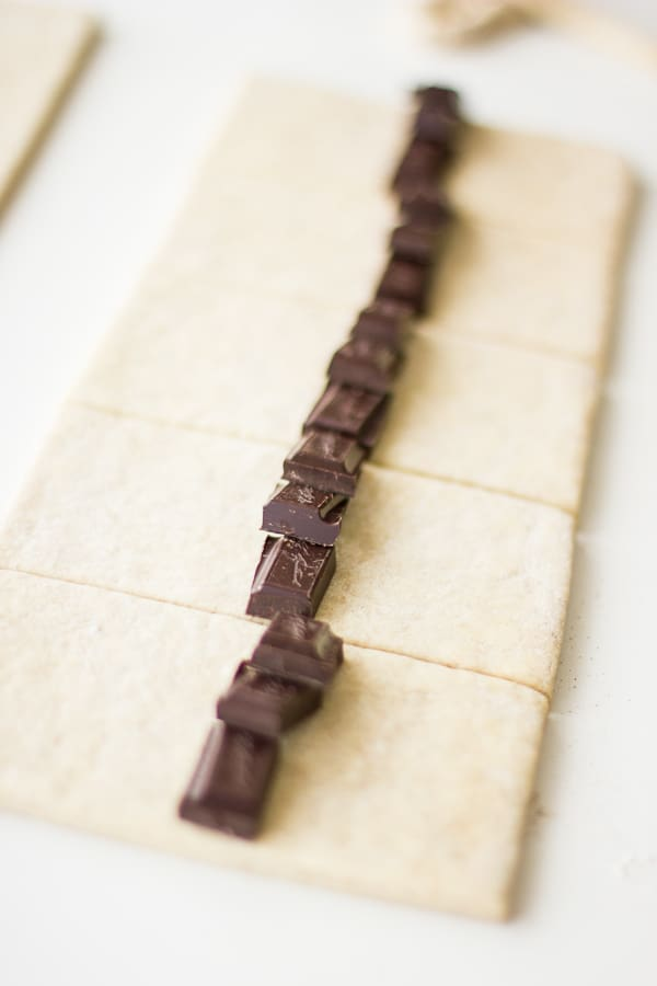 row of chocolate on pastry sheets