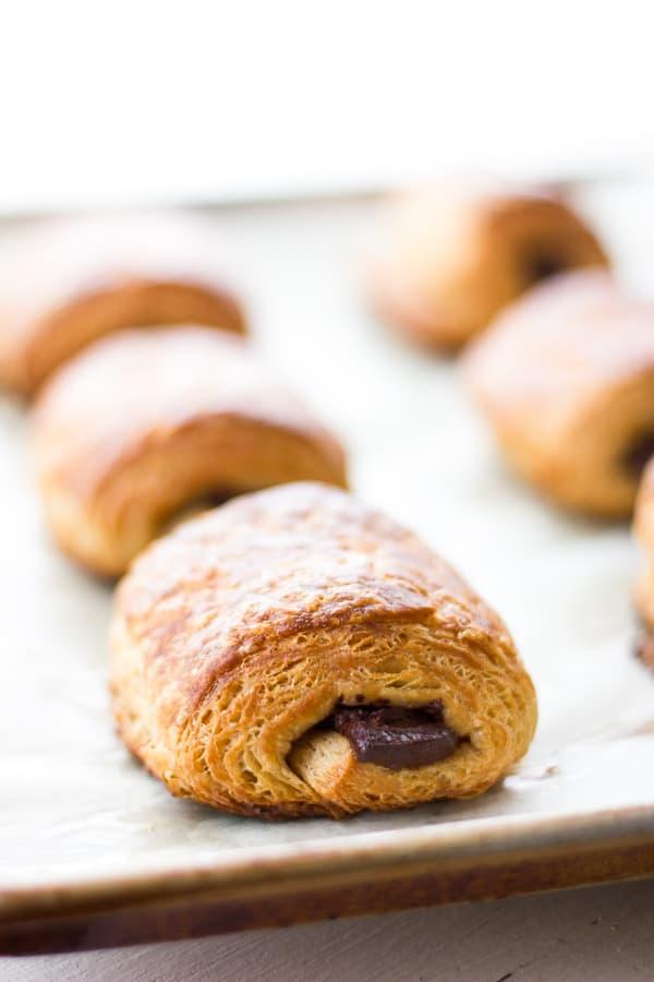 rows of Rye Flour Pains au Chocolat (Chocolate Croissants)
