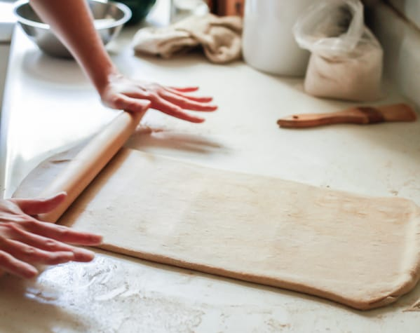 pastry being rolled