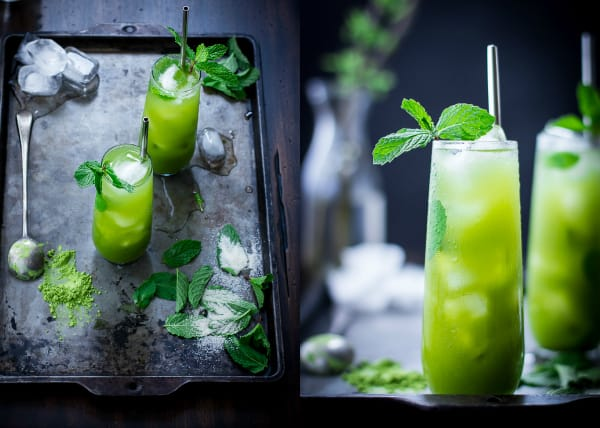 Matcha Mint Juleps on a table