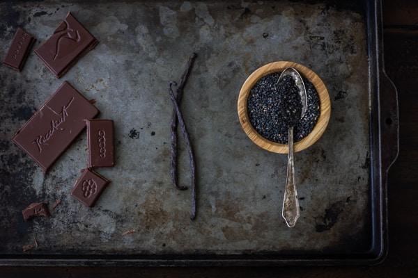 chocolate vanilla and black sesame on tray