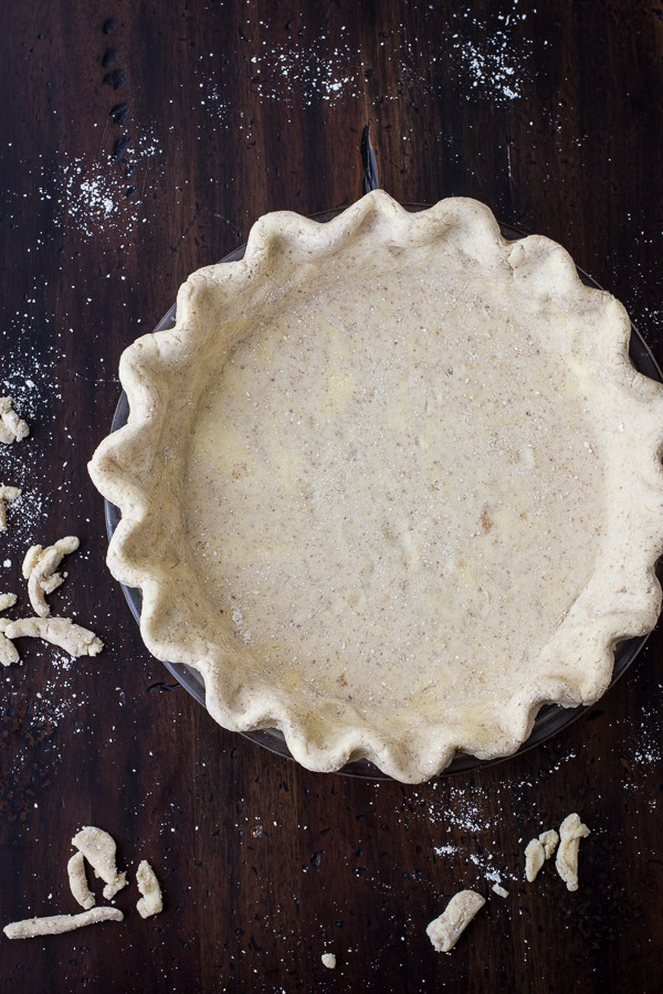 Flaky Gluten-Free Pie Crust (Whole-Grain + Gum-Free) in a pan