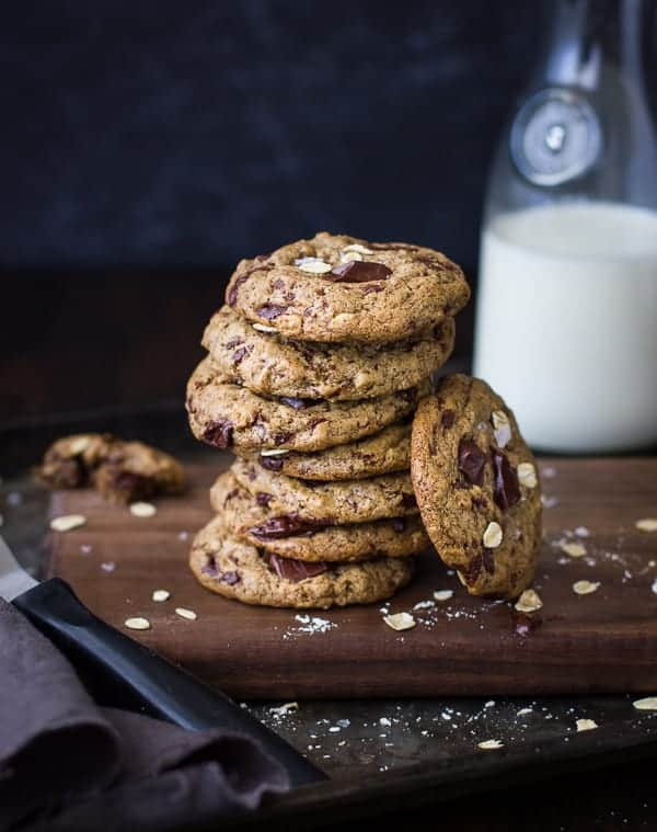 stack of Chocolate Chip Almond Butter Cookies with Buckwheat, Maple, and Oats {Vegan and Gluten-Free}