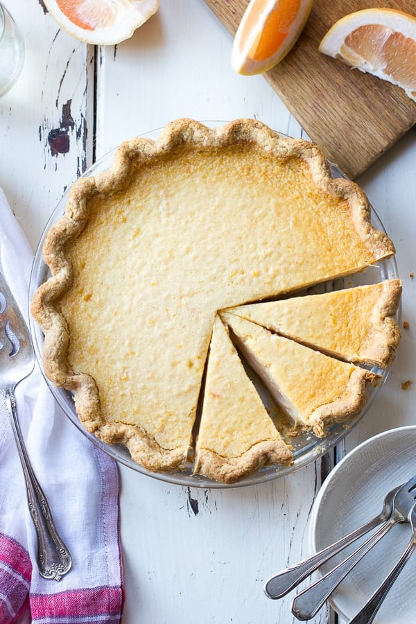 top down shot of Grapefruit Custard Pie {Gluten-Free}