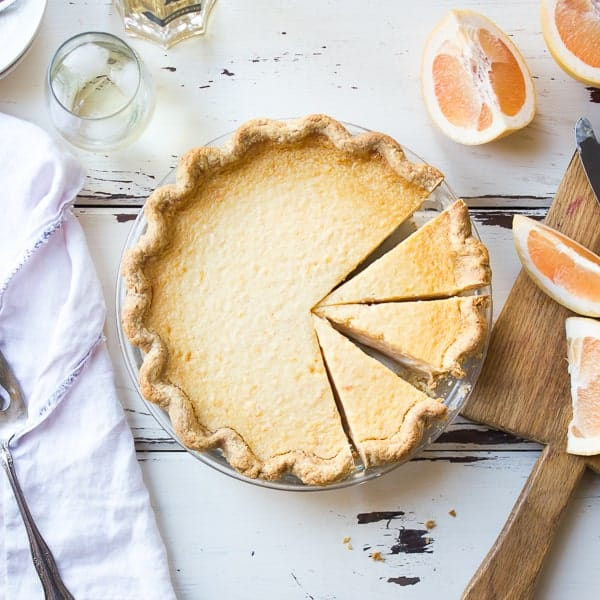 Grapefruit Custard Pie {Gluten-Free} on table