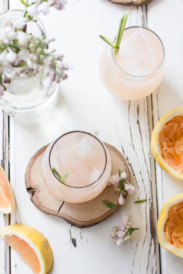 top down shot of Grapefruit, Ginger, and Lemongrass Sake Cocktails