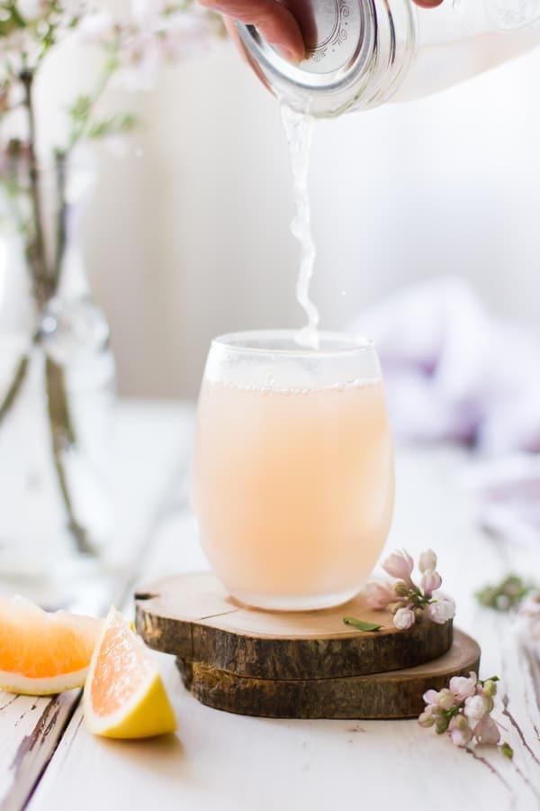 Pink Grapefruit, Ginger, and Lemongrass Sake Cocktails