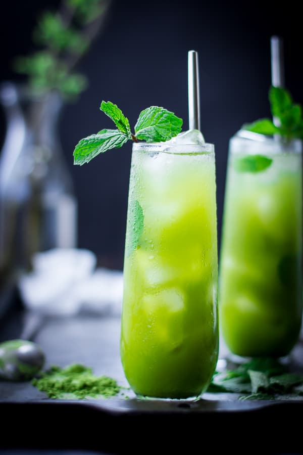 close up of Matcha Mint Juleps