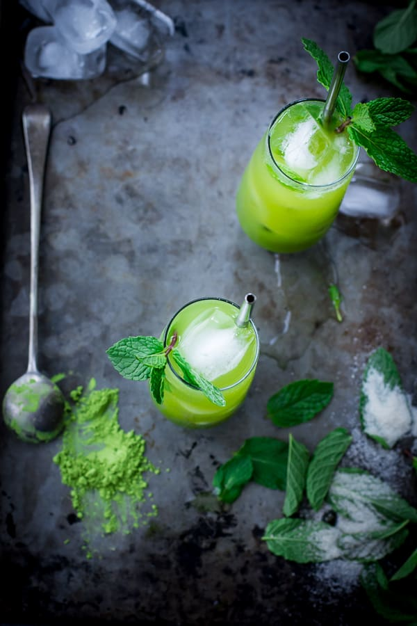 top down shot of Matcha Mint Juleps