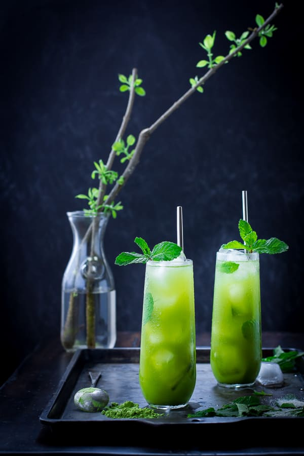 Matcha Mint Juleps on a tray