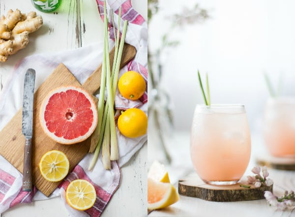 Grapefruit, Ginger, and Lemongrass Sake Cocktails in a glass