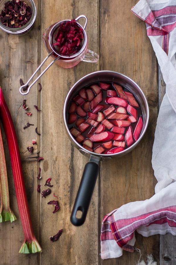 rhubarb slices in pot
