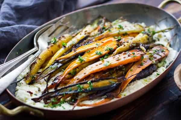 dish of Cumin and Honey Roasted Carrots, Ricotta, and Gremolata